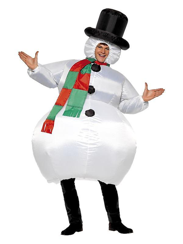 Adults Inflatable Snowman Fancy Dress Costume with Self Inflating Fan