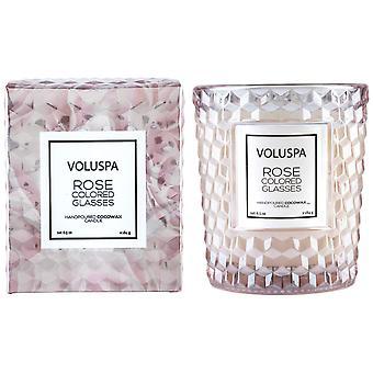 Voluspa Rosas encaixotado texturizado vidro vela rosa óculos coloridos 184g