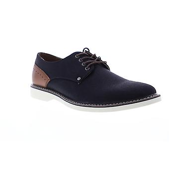 Steve Madden  Mens Black Canvas Casual Low Top Lace Up Oxfords Shoes