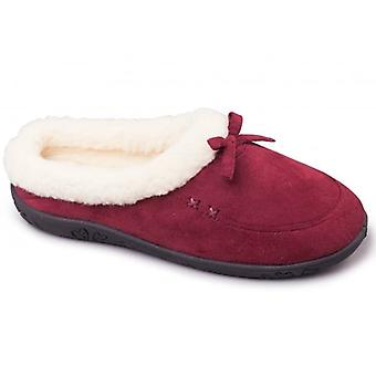 Padders Snug Ladies Microsuede Extra Wide (2e) Slippers Burgundy