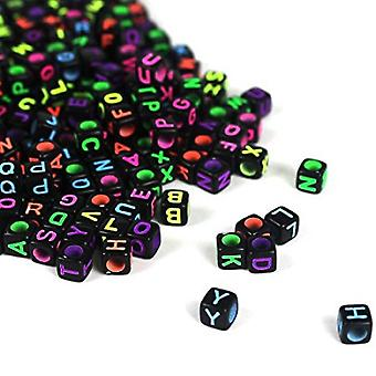 600pcs 6x6mm Mixed Black Acrylic Plastic Beads with Colorful Letters Alphabet A-Z Cube Beads for Necklaces Keychains and DIY Children Jewelry