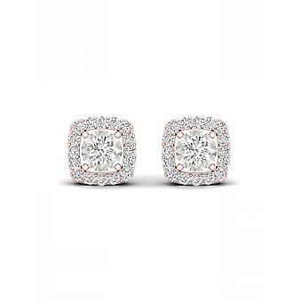 IGI-Certified-decouer-1/4-CT-TDW-Diamond-10k-rose-Gold-Halo-stud-earrings-(h-i,-I2)