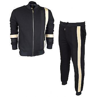 Cavalli Class Cotton Slim Fit Zip Up Black Tracksuit