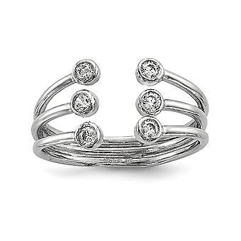 925 Sterling Silver Rhodium pläterade CZ Cubic Zirconia Simulerad Diamond justerbar ring smycken gåvor för kvinnor