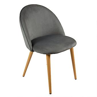 Charles Bentley Pair of Soft Velvet Kitchen/Lounge Dining Chairs with Beech Wood Effect Legs Grey H80xW54xD56