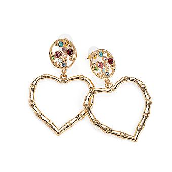 Gold Colour Multi Crystal Heart Design Drop Earrings