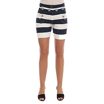 Dolce & Gabbana White Blue Striped Crystal Shorts