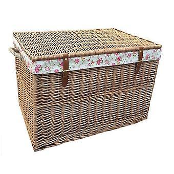 Large Light Steamed Storage Basket with Garden Rose Lining