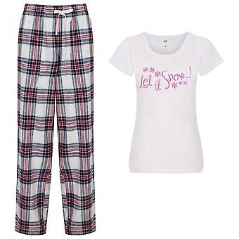 Damer Låt det Snö jul Tartan Byxa Pyjamas