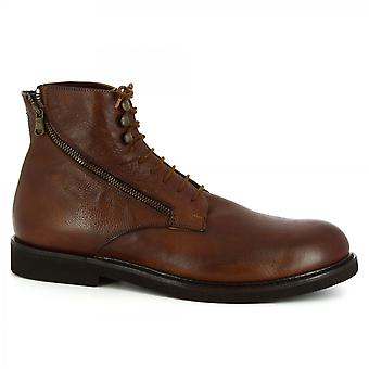 Leonardo Shoes Men's handmade lace-ups ankle boots in tan calf leather side zip