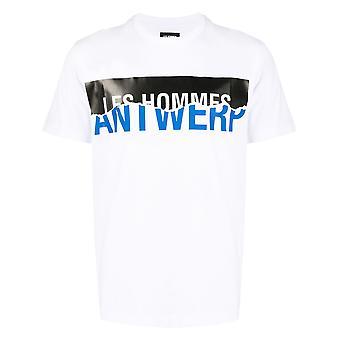 Les Hommes Lit205700p1007 Men's White Leather T-shirt
