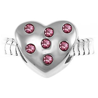 Charm perle c?ur orn� de cristaux de Boh�me et acier par SC Crystal BEA0208-ROSE