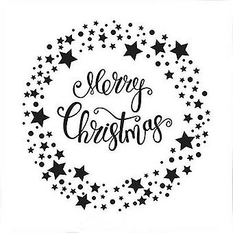 Nellie's Choice Embossing Folder Merry Christmas Star wreath