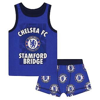 Chelsea FC Official Football Gift Boys Boxer Shorts & Vest Set