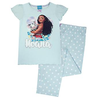 Disney Moana Girl's Pua Long Spotty Green/Blue Kids Pyjamas