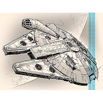 Star Wars Millennium Falcon Pencil Art Toile Plate 60-80cm
