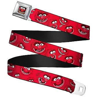 """The Muppets Animal Expressions Scattered Red Webbing Seatbelt Buckle Belt: 32-52"""""""
