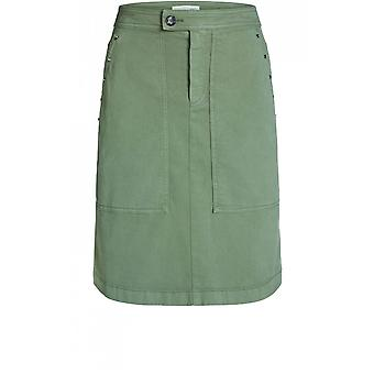 Oui Pale Khaki Denim Skirt