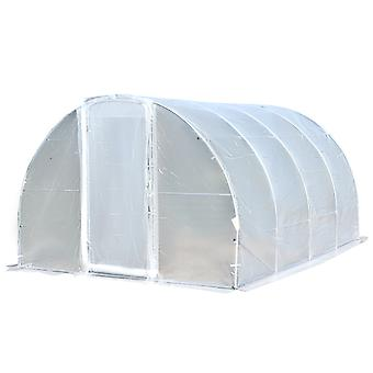 Outsunny Portable Polytunnel Greenhouse Walk-In Plant House Shelter w/ Latched Door Steel Frame Gorund Stakes 200x400cm