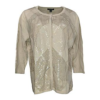 H by Halston Women's Sweater Art Deco Sequin Front Cardigan Beige A287136