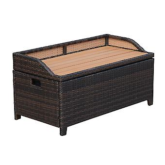 Outsunny Rattan Storage Cabinet Cushion Box Chest Bench Patio Weave Seat Seater w/Lining Outdoor Garden Patio Wicker Furniture Brown