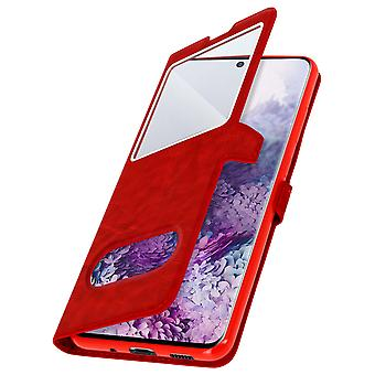 Samsung Galaxy S20 Ultra Flip Cover Doppelfenster & Standfunktion – Rot