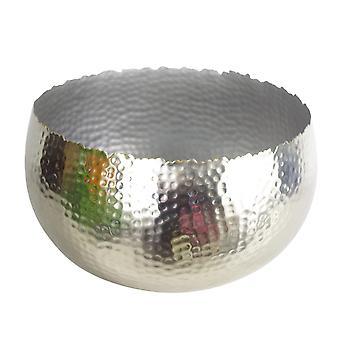 XL Metal Bowl 32 x 20cm Hammered Silver Colour - Curvy Edge