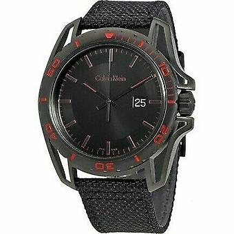 Calvin Klein K5Y31ZB1 Earth Black Dial Black Nylon Men's Watch