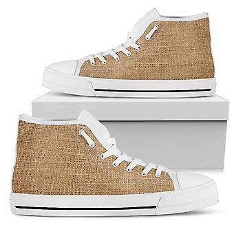High Top Shoes | Rugged Linen Print (White)