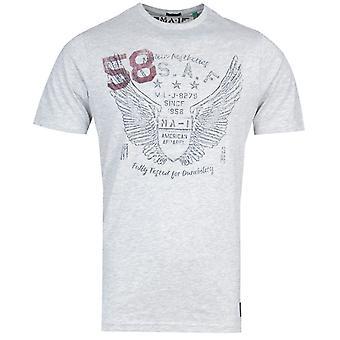 MA-1 P38 Angel Wings Print Grey T-Shirt
