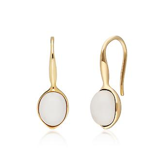 Irregular B Gem Moonstone Drop Earrings in Yellow Gold Plated Sterling Silver  270E027002925