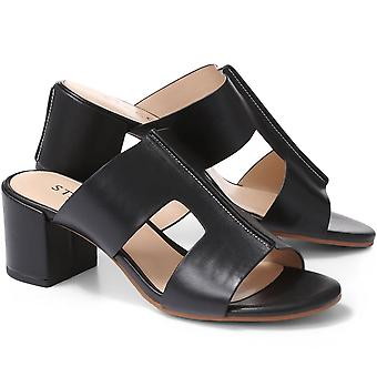 Staccato Womens Block Heel Leather Mule Sandal