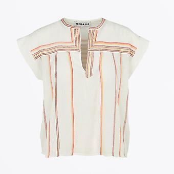 Teoh & Lea - Embroidered Henley Top - White