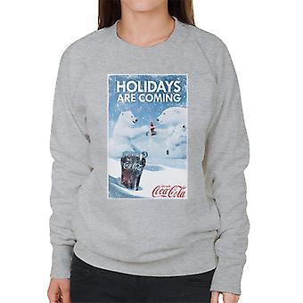 Coca Cola Vacanze Stanno venendo Orso Polare Applausi Donne'sweatshirt
