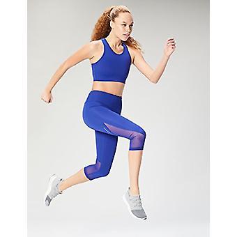 Brand - Core 10 Women's Longline Pocket Sports Bra, Brite Blue, Large