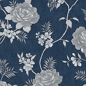 Rosalind Floral Wallpaper Blue Muriva 173503