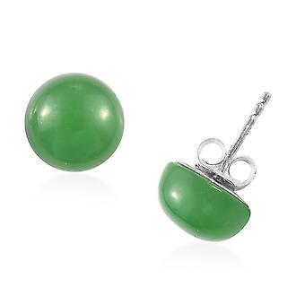 TJC Green Jade Stud Earrings for Women Sterling Silver, 9.75 Ct