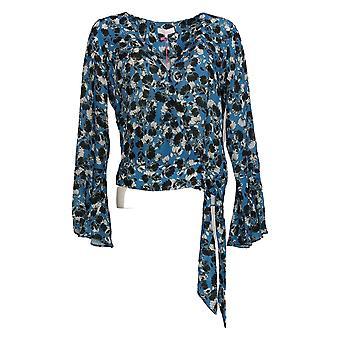 Parker Women's Top Long Sleeve Floral Print Wrap Front Blue