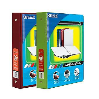 Combo73, BAZIC 1.5 Inch 3-Ring View Binder with 2-Pockets (Case pack of 24 consist 12-Burgundy & 12-Lime Green)