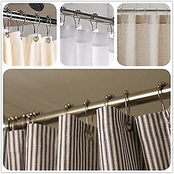 Stainless Steel Rollerball Shower Curtain Rings Hooks 12pcs