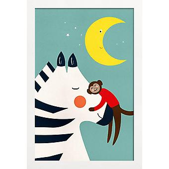 JUNIQE Print - Goodnight Hug - Monkey Poster in Colorful