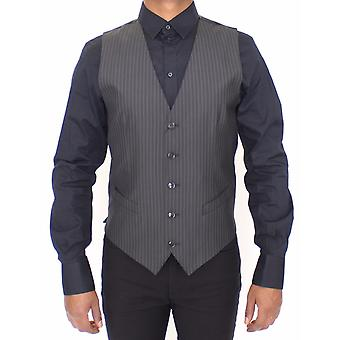 Dolce & Gabbana Gray Striped Wool Silk Dress Vest Gilet VES10029-2