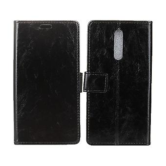 Cover for Nokia 8 Leather Case Protection Wallet Black Card Holder