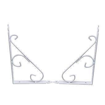 White Durable Wall Mounted Shelf Bracket Hanging Pack of 2