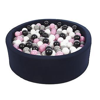 Ball pit granatowy z 450 kulkami 90 cm czarny, biały, jasnofioletowy i szary
