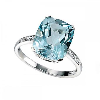 Elements Gold Elements White Gold Sky Blue Topaz Diamond Ring GR224TZ477