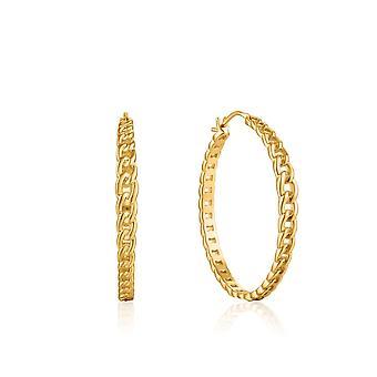 Ania Haie Chain Reaction Shiny Gold Curb Chain Hoop Earrings E021-06G