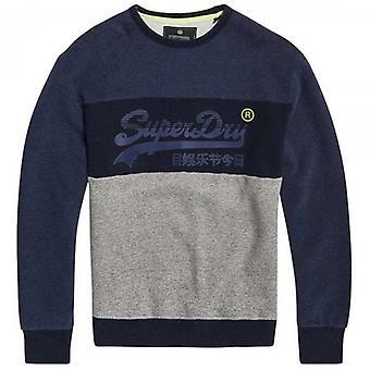 Superdry Vintage Logo Panel Crew Sweatshirt Rich Navy Marl VN7