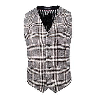 Cream With Navy & Brown Prince of Wales Check Suit Waistcoat