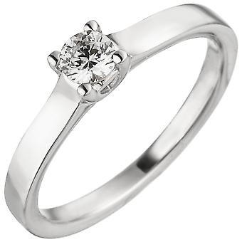 Kvinnors Ring 585 Guld Vitt Guld 1 Diamond Brilliant 0.25ct. Diamantring patiens